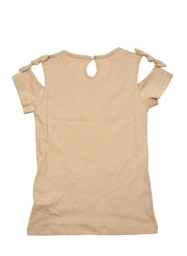 Mininio Bej Love Pullu Omuz Fiyonklu T-Shirt (5-14yaş) Bej Love Pullu Omuz Fiyonklu T-Shirt (5-14yaş) Bej